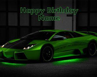 Green Lamborghini Lambo Car Edible Image Cake Birthday Topper Party 1//4 Sheet