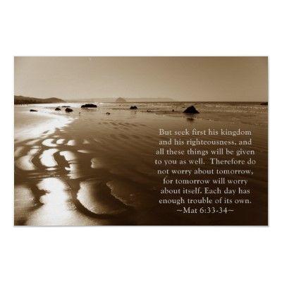 Matthew 6:33- 34 Poster #zazzle #photogift #gift