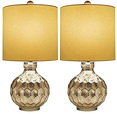 2 x Silver Hexagon Mercury Glass Table Lamp With White Linen Drum Shade,Hand Crafted Elegant Bedroom Lamps For Nightstand Set Of 2,19 High Harp Construction,E26 Medium Base 19 High Harp Construction Warmstore