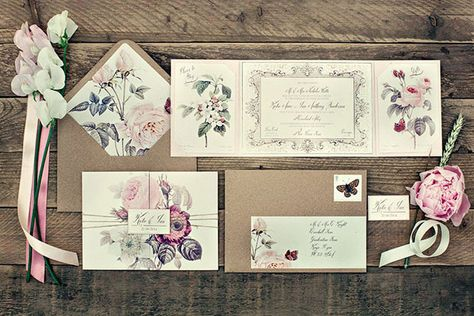 Vintage Botanical Stationery by Dottie Creations | Image by Dottie Photography  // see this and 101 other inspiring wedding invitations on www.onefabday.com