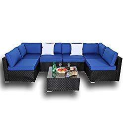 Outdoor Black Rattan Wicker Sofa Set Garden Patio Furniture
