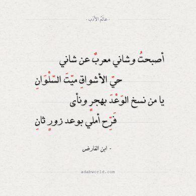 شعر ابن الفارض أصبحت وشاني معرب عن شاني عالم الأدب Words Math Arabic Calligraphy