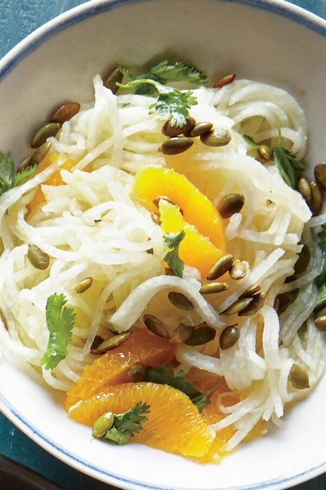 "Orange-Jicama Salad | ""This bright and refreshing salad could not be easier to toss together and makes a fantastic side dish for taco night. Crisp jicama and juicy-sweet oranges make for quite the dream-team. Even if you can't make it out to your favorite mexican restaurant, we have you covered."" #mexicandishes #mexicanrecipes #recipes #jicama #salad #mexicanfood #orange #sidesalad #taconight"