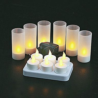 set of 12 restaurant quality tea lights flickering white leds without glass holders charging base with metal contacts led candles