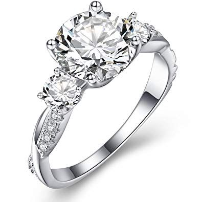 Vibrille Sterling Silver Twisted Vine Round Three Stone Cubic Zirconia  Engagement Rings for Women