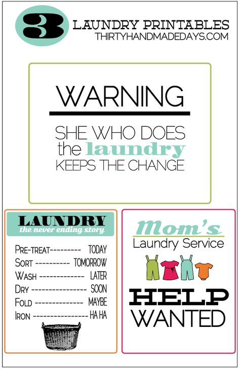 3 Laundry Printables and laundry tips. Free printable laundry tips.