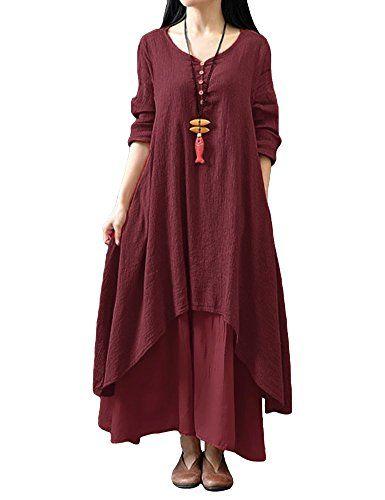 Oversize Femme Robe Casuel en vrac Manche Longue Noir Asymétrique Dresse Midi