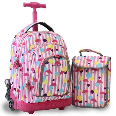 J World Lollipop Rolling Backpack with Lunch Bag - RBS-16LSP ...