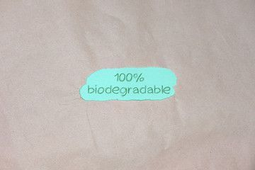 100 Biodegradable Text On And Brown Green Packing Paper Background Recycling Plastic Eco Friendly And Zero Paper Background Brown Packing Paper Recycling