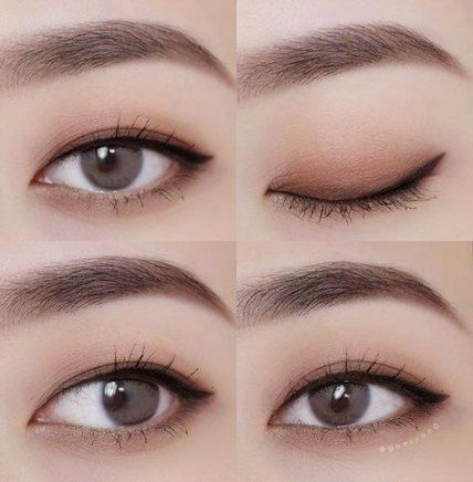 Korean Makeup Ideas While You Are Using Eyeshadow Look Down And Right Into A Mirror Don T Make An Attemp Korean Eye Makeup Asian Eye Makeup Korean Makeup Tips