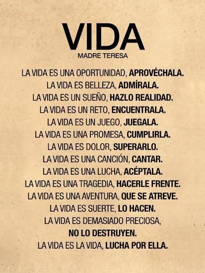 Vida por Madre Teresa Poema--Poster
