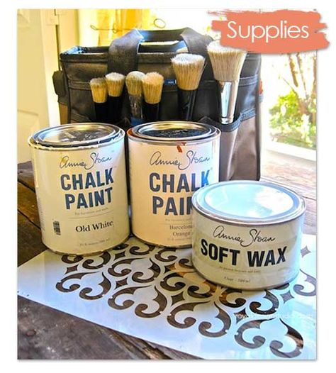 Chalk Paint® decorative paint and stencil supplies for furniture stenciling with Royal Design Studio stencils | Link has beautiful stenciled furniture tutorial