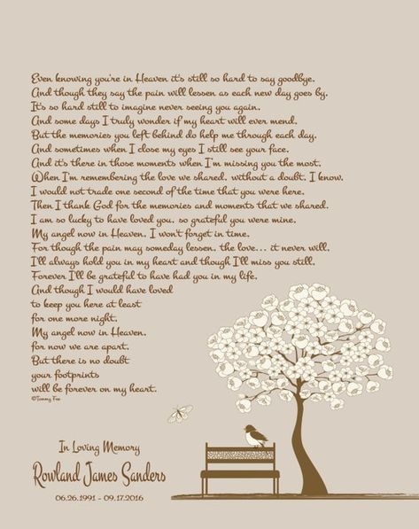 """A personalized memorial poem/print is the perfect way to remember/honor your loved one, be it a sympathy/condolence gift for a friends loss or a gift to yourself for your own loss. Memorial/remembrance print features pictured artwork and pictured poem as well as your loved ones name, dates of birth and death, and a short personalized heading. (for example: """"In Loving Memory"""") Print will be printed on your choice of my standard professional or 100% cotton photo paper (please see descriptions belo"""