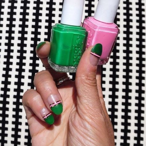 After I did these I realized they're like a version of watermelon nails but for grown ups! 🍉