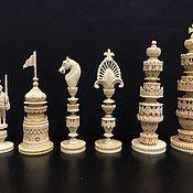 эксклюзивные шахматыизготовлены из бивня мамонта и эбенового дерева