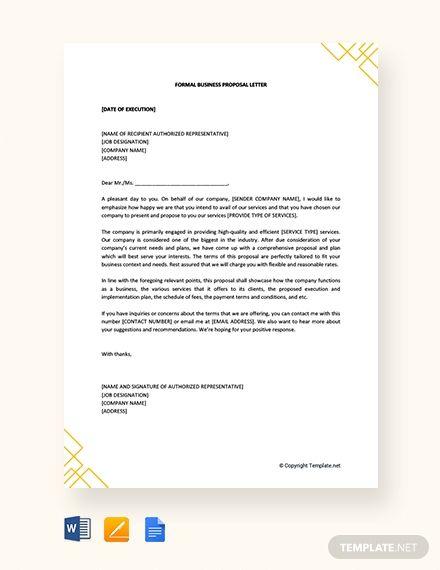 Free Formal Business Proposal Letter Proposal Letter Business