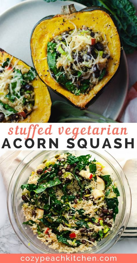 Vegetarian stuffed acorn squash is loaded with healthy ingredients like quinoa, sauteed leeks and shredded Parmesan cheese. Perfect for Thanksgiving or weeknight dinners! #thanksgiving #vegetarianrecipes #stuffedsquash #healthyrecipes