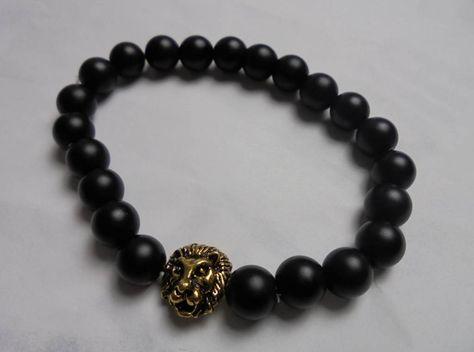 Lionhead bracelet matte black beads #accessories #men #clothing #urban #outfit #kleding #heren #mode #fashion #hautecouture #accessoires #bracelet #armband