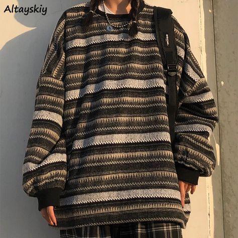 US $15.98 5% OFF|Pullover Frauen Oversize Ulzzang BF Unisex Paare Japanischen Gestreiften Stricken Pullover Hip Hop Weibliche Neue Winter Mode Retro Täglichen|Pullover|   - AliExpress