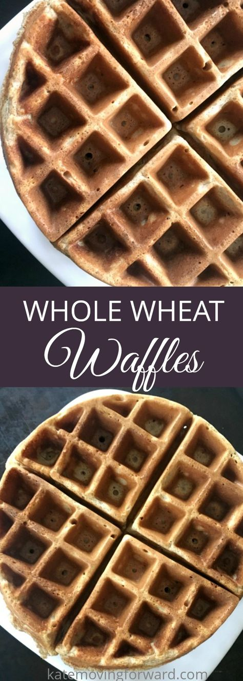 This whole wheat waffle recipe is the perfect weekend food -- fluffy, absolutely delicious and with a hint of cinnamon. You can make them fancy with extra toppings (fruit! nuts! whipped cream!) or enjoy them with just butter and syrup. #waffleiron #waffles #homemadewaffles #wafflerecipes #healthybreakfast #brunchrecipes