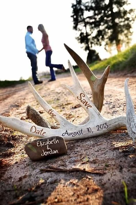 Engagements Save the Date Hunting Themed ©Amber S. Wallace Photography A. Engagements Save the Date Hunting Themed ©Amber S. Wedding Pics, Our Wedding, Dream Wedding, Hunting Wedding, Wedding Country, Antler Wedding Decor, Camo Wedding Decorations, Camouflage Wedding, Hunting Theme Weddings