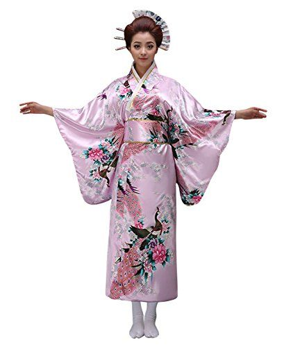 Girls Kimono Costume Japanese Asian Top Dress Robe Sash Belt Fan Set Outfit