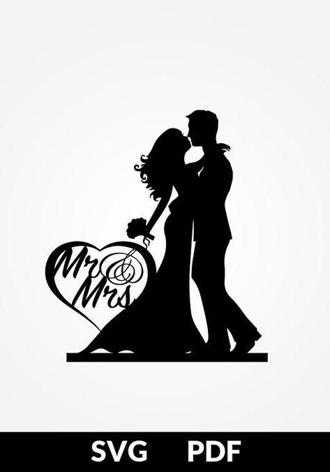 SVG / PDF Paper cutting template Mr. & Mrs. cake topper