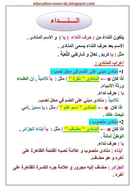 مدونة التعليم و التربية تحضير درس النداء لغة عربية للسنة الخامسة المكيفة م Blog Education Math