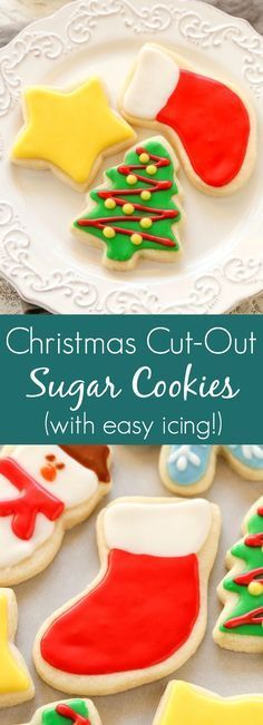 Super soft cut-out sugar cookies decorated with an easy icing. These Christmas C… Super soft cut-out sugar cookies decorated with an easy icing. These Christmas Cut-Out Sugar Cookies are so fun to decorate and perfect for the holidays! Christmas Sugar Cookies, Christmas Snacks, Christmas Cooking, Christmas Cookies Cutouts, Decorated Christmas Cookies, Easy Christmas Cookies Decorating, Easy Holiday Cookies, Christmas Sugar Cookie Icing Recipe, Easy Christmas Cookie Recipes
