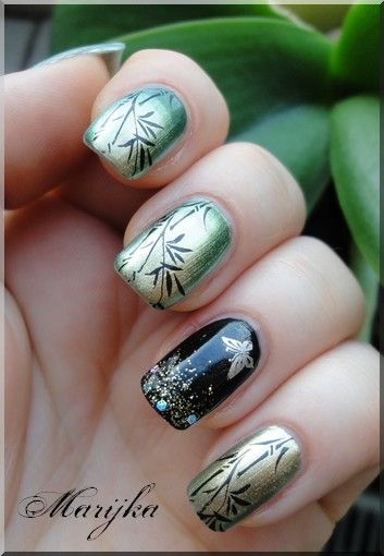 """I'd like to try this bamboo pattern on top of my Nicole for Opi """"Mermaid for each other"""" polish, which is green gold like the picture."""