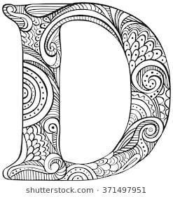 Hand Drawn Capital Letter D In Black Coloring Sheet For Adults
