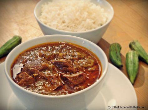 Bœuf en sauce gombo - Manzo in salsa di okra Visit : http://inthekitchenwithsheila.com/