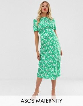 Asos Maternity Asos Design Maternity Midi Tea Dress With Buttons In Floral Print Tea Dress Maternity Midi Dress Dresses