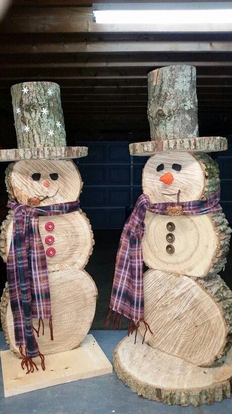 bonhomme de neige Santa /& Renne X 6 Craft Pour Noël Ornements en bois
