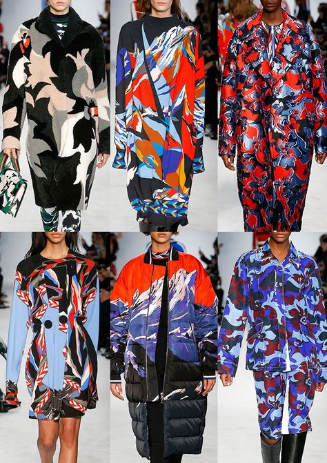 EMILIO PUCCI | Alpine Scenes – Fractural Pattern – Bold Colour Palette – Camo Style Florals – Intarsia – Mountain Knits – Bold Geo – Fringed Weaves – Pleated Embellishments | MILAN | http://vogue.co.uk