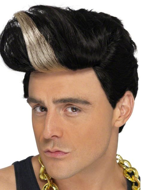 Mens Guy Wig Brown Short w Fringe Fancy Dress Costume 90/'s 80/'s 70/'s Bieber Fun