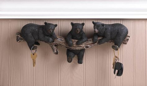 Black Bear Trio Hooks Wall Plaque