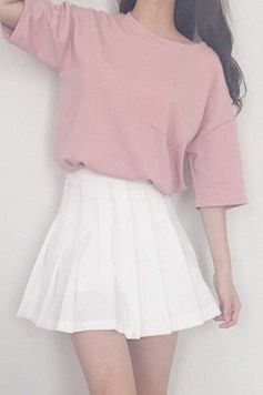 46 New Ideas For Skirt Korean Pink Outfit In 2020 Tennis Skirt Outfit Kawaii Fashion Outfits Korean Fashion