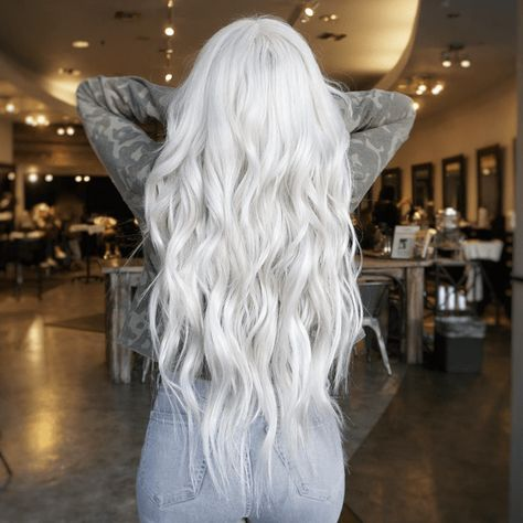 Platinum Mermaid 🧜‍♀️ ❄️ ————————————— Lifted using Blond Me with half 7 volume half 20 volume for a root touch up ✨ Mixed into toners for extra strength and shine.🤟 Pretoned the hair using silver shampoo from Tape in Extensions using 🔗 Silver White Hair, Long White Hair, Silver Blonde Hair, Icy Blonde, Platinum Blonde Hair, Purple Hair, Ombre Hair, Dyed White Hair, Silver Hair Girl