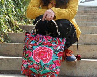 Embroidery bag folk style bag bag canvas bag Handmade embroidery bag purseHand Made Embroidery Great Floral Pattern Tote Bag