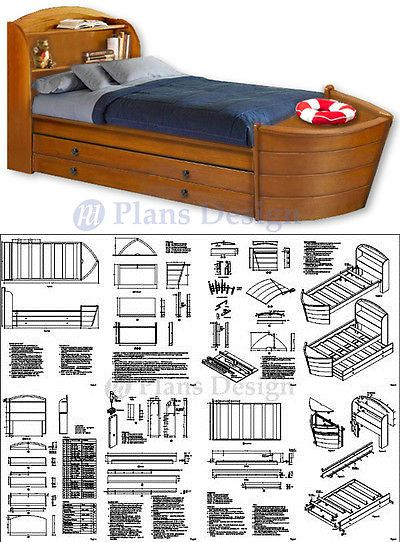 Instruction Books And Media 183149 Children S Twin Boat Bed With Trundle Woodworking Plans Do It Yourself Buy It Now Only 19 95 Boat Bed Bed Trundle Bed