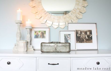 Having a hard time accessorizing the top of your bedroom dresser? Keep it simple and only use accessories that are either useful or that you absolutely love. Less is more when creating a calming retreat.www.meadowlakeroad.com
