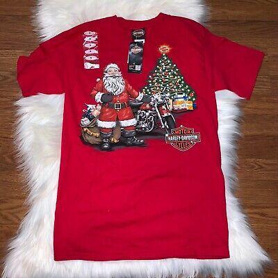 Harley Davidson Small Be Good Santa Christmas Red T Shirt Beaumont