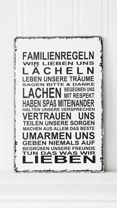 Tür- & Namensschilder - XL 26x17cm Shabby Vintage Schild FAMILIENREGELN - ein Designerstück von homestyle-accessoires bei DaWanda