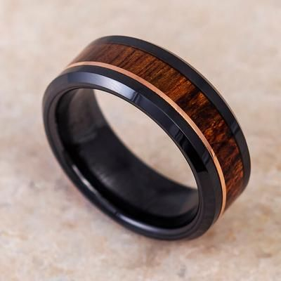 Caribbean Rosewood Wedding Band With Rose Gold Accent In Black Ceramic 2694 With Images Rose Gold Mens Wedding Band Mens Wood Wedding Bands Rose Gold Wedding Bands