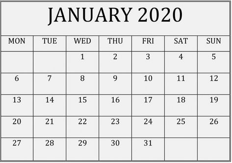 January 2020 Calendar With Holidays Usa Printable Calendar