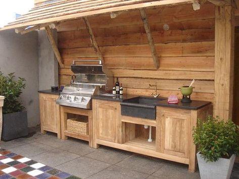 Tolle Idee für eine Bar\/Küche im Garten mit Sitzecke und Schuppen - k che mit bartheke