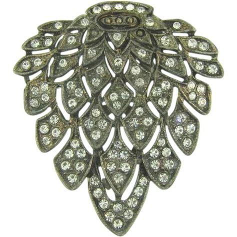 Vintage leaf shaped pot metal Dress Clip with crystal rhinestones