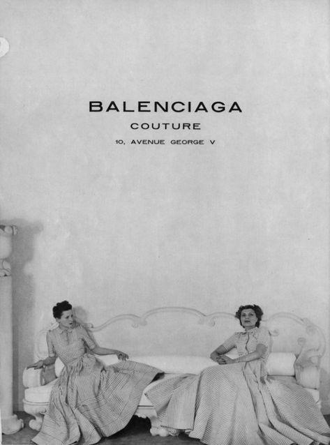 reklama w Vogue Paris, z okazji otwarcia La Maison de Balenciaga na Avenue George V Fashion History, Fashion Art, Vintage Fashion, Edwardian Fashion, 1940s Fashion, Emo Fashion, Fashion Advertising, Advertising Campaign, Black And White Aesthetic