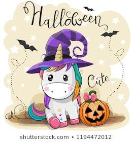 Greeting Halloween Card Cute Cartoon Unicorn With Pumpkin Halloween Cartoons Cute Cartoon Unicorn Halloween